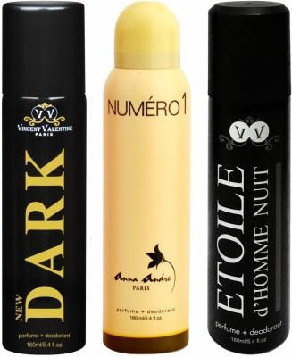 Vincent Valentine, Paris Set of Dark, Numero 1 & Etoile de Homme Nuit Deodorant Spray - For Boys, Men, Girls, Women