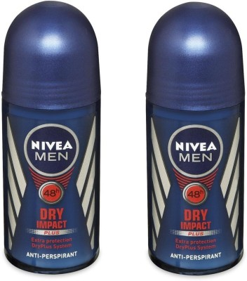 Nivea Men 48h Dry Impact Plus extra protection antiperspirant ( Pack of 2 ) Deodorant Roll-on  -  For Men