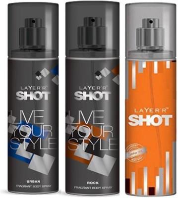 Layer,R Shot Urban, Rock, Smokin Hot Fragrance Body Spray Deodorant Spray  -  For Men