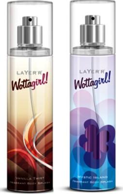Layerr Wottagirl Combo 2 Vanilla Twist,Mystic Island Body Mist - For Girls, Women