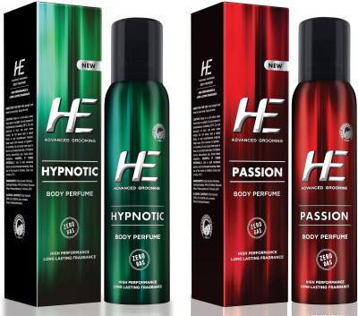 HE DEO Body Perfumed (PASSION) +(HYPNOTIC) 122 ML EACH Body Spray  -  For Men