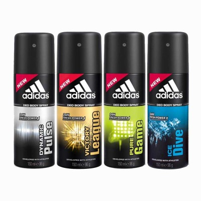 Adidas dynamic plus, victory league, pure game and ice dive Deodorant Spray  -  For Men(600 ml) at flipkart