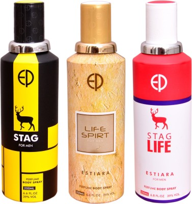 ESTIARA 1 STAG::1 LIFE SPIRIT::1 STAG LIFE Deodorant Spray  -  For Men, Women