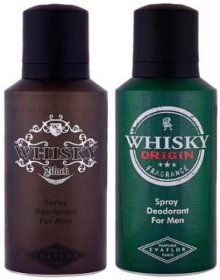 Evaflor 2 Whisky Deo (Black & Origin) Deodorant Spray  -  For Men(150 ml) at flipkart