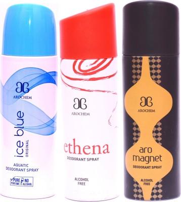 Arochem Combo Ice Blue Ethena Magnet Deodorant Spray  -  For Men, Women