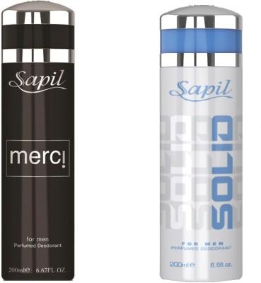 Sapil Solid & Merci combo set of 2pcs Body Spray  -  For Men