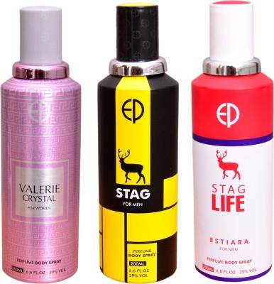 ESTIARA 1 VALERIE CRYSTAL::1 STAG::1 STAG LIFE Deodorant Spray  -  For Men, Women