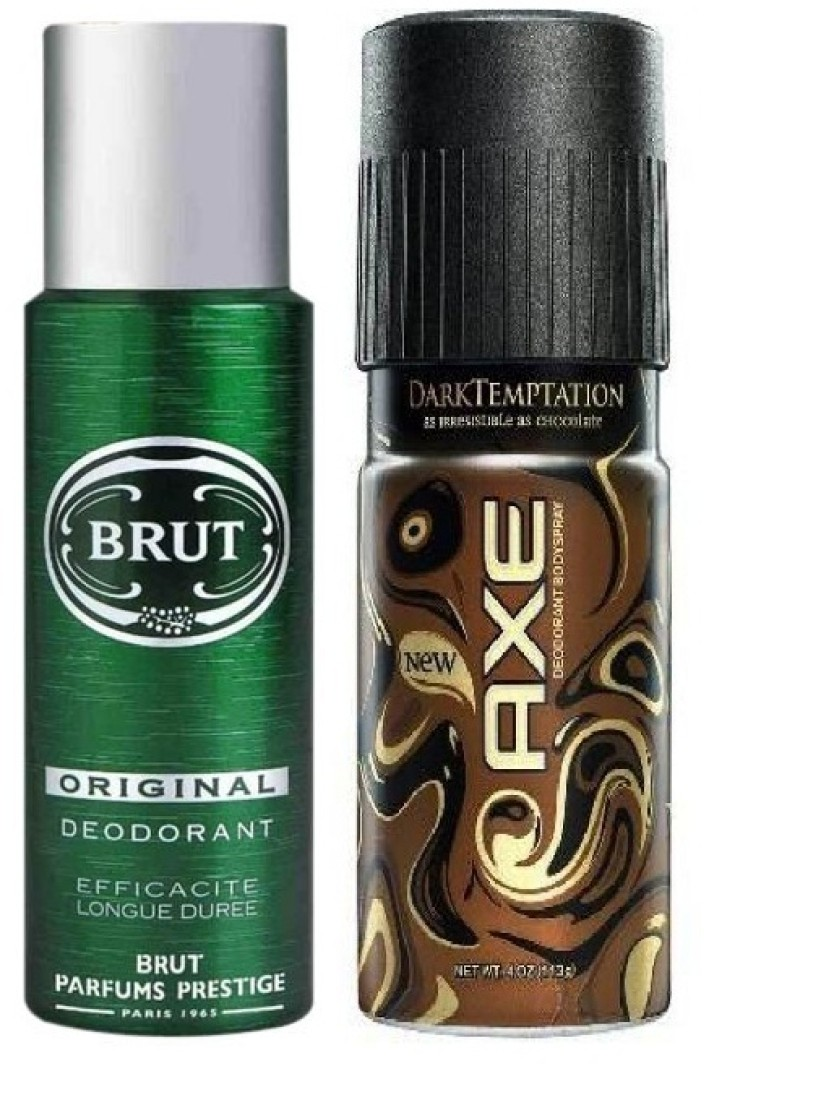 Axe & Brut Original and Dark Temtation Deodorant Spray  -  For Men, Boys, Women