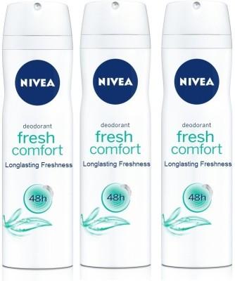 Nivea Fresh Comfort 48h Longlasting Freshness ( Pack of 3 ) Deodorant Spray  -  For Men, Women, Girls, Boys