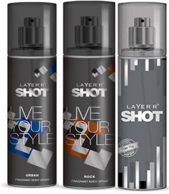 Layer,R Shot Urban, Rock, Power Play Fragrance Body Spray Deodorant Spray  -  For Men