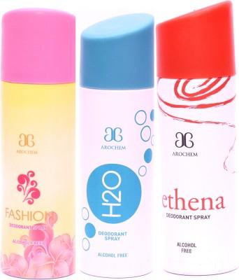 Arochem Combo Fashion H2O Ethena Deodorant Spray  -  For Men, Women