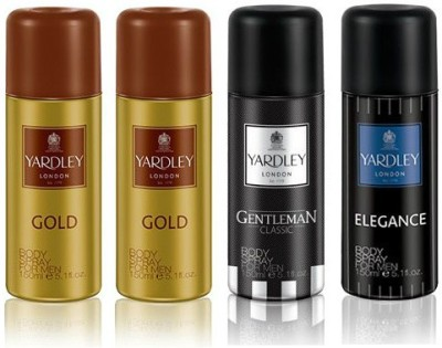 Yardley London Gold & Gentleman & Elegance Body Spray  -  For Boys, Men
