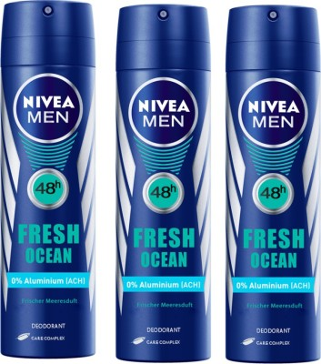 Nivea MEN Fresh Ocean Longlasting Pack of 3 Deodorant Spray  -  For Men