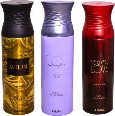 AJMAL 1 AURUM::1 SACRIFICE FOR HER::1 SACRED LOVE Deodorant Spray  -  For Men