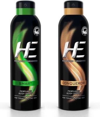 HE DEO Perfumed (SMART) +(CONQUEROR) 150 ML EACH Body Spray  -  For Men