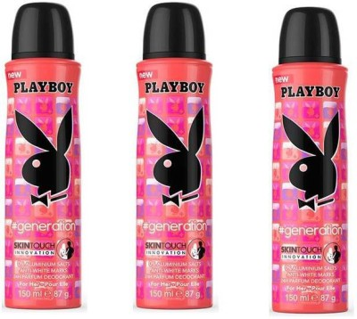 Playboy Generation Set Of 3 Deodorant Spray - For Girls, Women(450 ml)