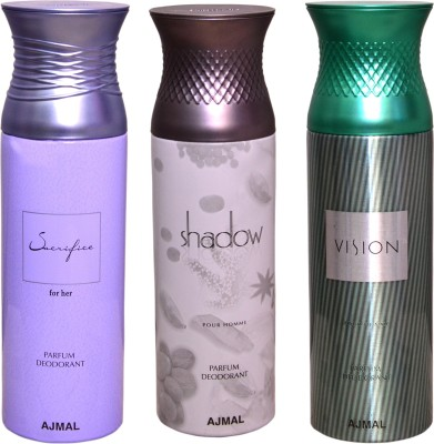 AJMAL 1 SHADOW FOR HIM::1 VISION::1 SACRIFICE FOR HER Deodorant Spray  -  For Women