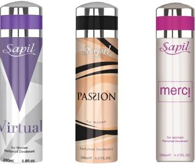 Sapil MERCI(W) VIRTUAL(W) PASSION(W) COMBO SET OF 3PCS Body Spray  -  For Women