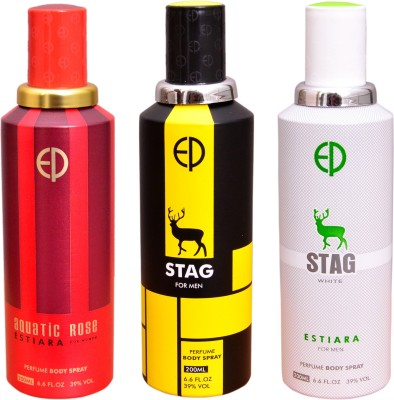 ESTIARA 1 AQUATIC ROSE::1 STAG::1 STAG WHITE Deodorant Spray  -  For Men, Women