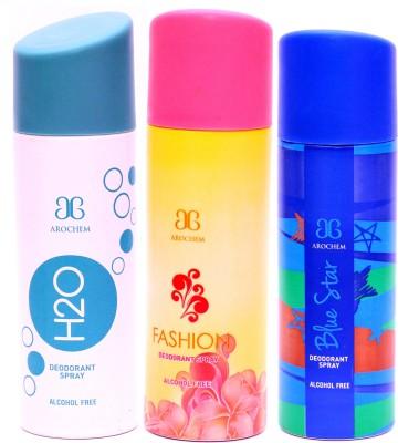 Arochem Combo H2O Fashion Blue Star Deodorant Spray  -  For Men, Women