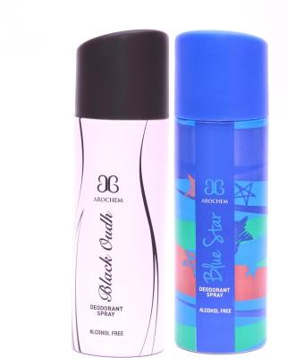 Arochem Black Oudh Blue Star Deodorant Spray  -  For Men, Women