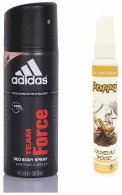 Adidas Adidas Team Force Deo + Poppy Spray Freshener Sandalwood Free Deodorant Spray  -  For Boys, Girls, Men, Women