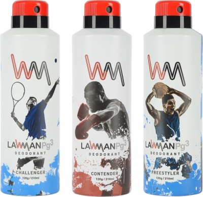 LAWMAN PG3 Challenger, Contender, Freestyler Deodorant Spray  -  For Men