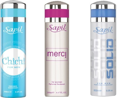 Sapil CHICHI(M) MERCI(W) SOLID(M) COMBO SET OF 3PCS Body Spray  -  For Men, Women