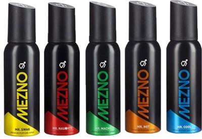 Mezno Fragrance Deodorant No Gas Deo- Pack of 5 Body Spray  -  For Men