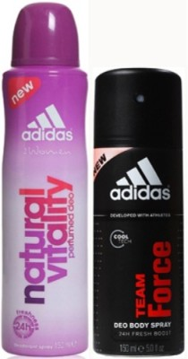 Adidas Natural Vitality and Team Force Body Spray - For Girls, Women, Boys, Men