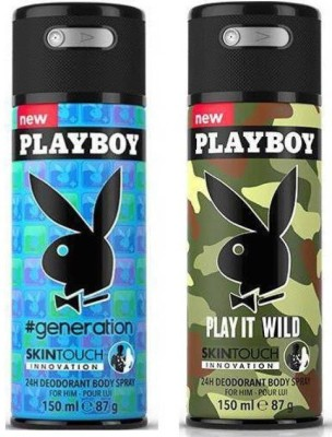 Playboy Generation and Play It Wild Deodorant Spray - For Boys, Men(300 ml)