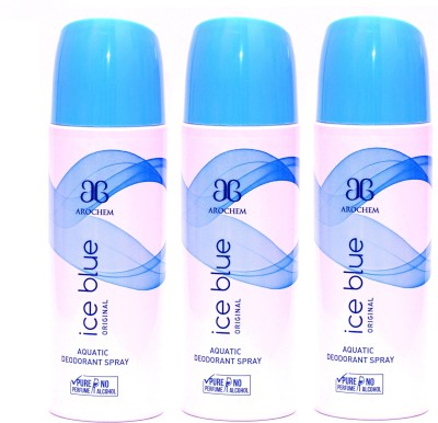 Arochem 3 x Ice Blue Deodorant Spray  -  For Men, Women
