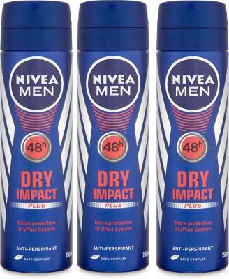 Nivea Men 48h Dry Impact Plus Extra Protection Anti-Perspirant ( Pack of 3) Deodorant Spray  -  For Men