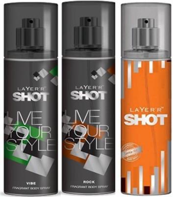 Layer,R Shot Vive, Rock, Smokin Hot Fragrance Body Spray Deodorant Spray  -  For Men