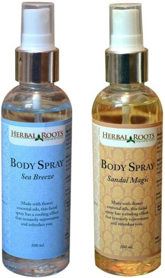 Herbal Roots Combo Set Sea Breeze and Sandal Magic Body Spray  -  For Boys, Men