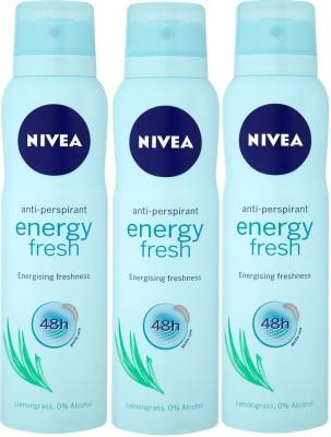 Nivea Anti-Perspirant Energy Freshness 48h ( Pack of 3 ) Deodorant Spray  -  For Men, Women, Girls, Boys