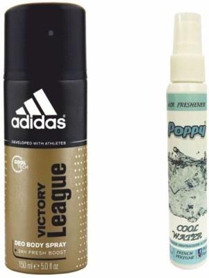 Adidas Adidas Victory League Deo + Poppy Spray Freshener Cool Water Free Deodorant Spray  -  For Boys, Girls, Men, Women