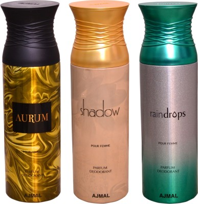 AJMAL 1 AURUM::1 SHADOW::1 RAINDROPS Deodorant Spray  -  For Men