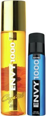 Envy 1000 Divine Crystal Deo 135 Ml & Dark Spray Nano 40 Ml Deodorant Spray - For Women  (175 ml, Pack of 2)