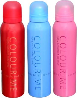 COLOR ME 1 SKY BLUE::1 PINK::1 RED DEO Deodorant Spray  -  For Women