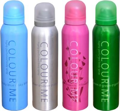 COLOR ME 1 SKY BLUE::1 SILVER::1 FLOWERS::1 GREEN DEO Deodorant Spray  -  For Men