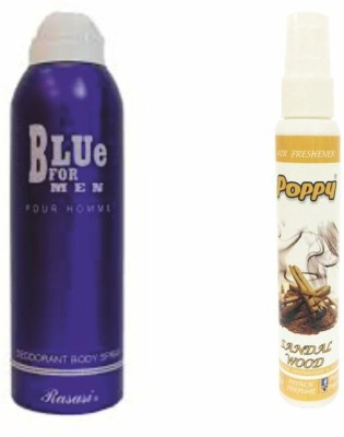 Rasasi Rasasi Blue Deo + Poppy Spray Freshener Sandalwood Free Deodorant Spray  -  For Boys, Girls, Men, Women