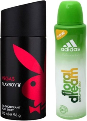 Playboy and Adidas Vegas and Floral Dream Body Spray - For Boys, Men, Girls, Women