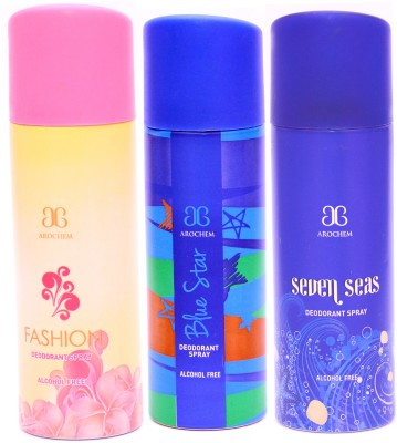 Arochem Combo Fashion Blue Star Seven Seas Deodorant Spray  -  For Men, Women
