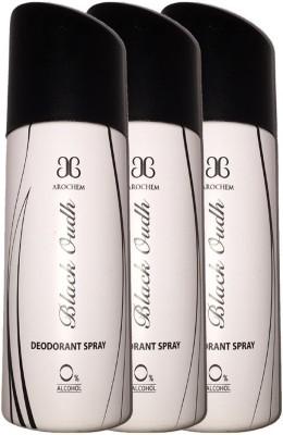 Arochem 3 X Black Oudh Deodorant Spray  -  For Men, Women