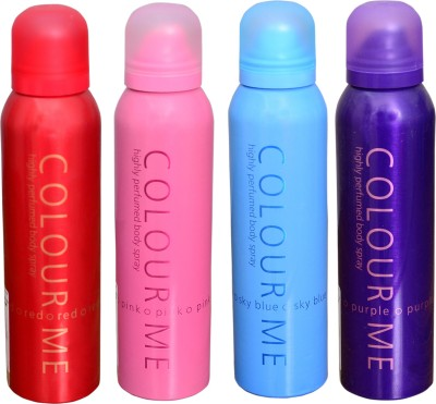 COLOR ME 1 SKY BLUE::1 PINK::1 RED::1 PURPLE DEO Deodorant Spray  -  For Women