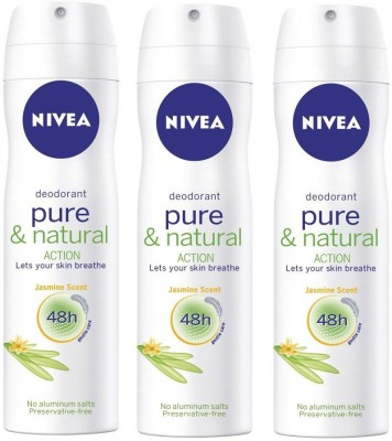 Nivea Pure And Natural Action Jasmine Scent ( Pack of 3 ) Deodorant Spray  -  For Men, Girls, Women, Boys