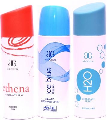 Arochem Combo Ethena Ice Blue H2O Deodorant Spray  -  For Men, Women