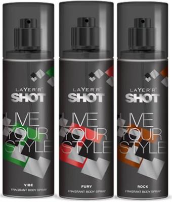 Layer,R Shot Vive, Fury, Rock Fragrance Body Spray Deodorant Spray  -  For Men