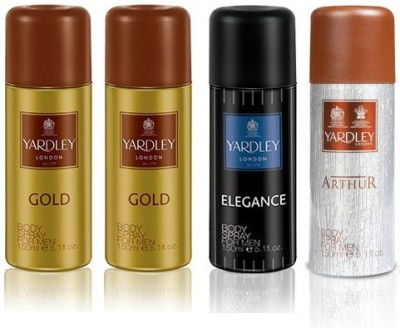 Yardley London Gold & Elegance & Arthur Body Spray  -  For Boys, Men